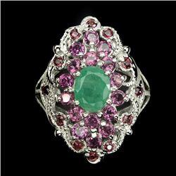 Natural  Emerald & Rhodolite Garnet Ring