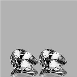 Natural  Diamond White Aquamarine Pair 9x6.5 MM - FL