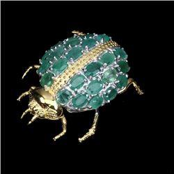Natural Zambian Green Emerald Brooch - Untreated