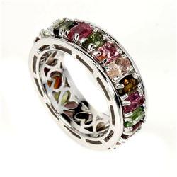 Natural  Multi-Color Tourmaline Ring