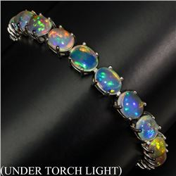 Natural Unheated White Opal Rainbow 94.36  Cts Bracelet