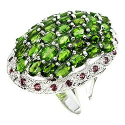 Natural Green Chrome Diopside & Rhodolite Ring