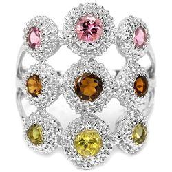 Natural Multi Color Tourmaline Ring