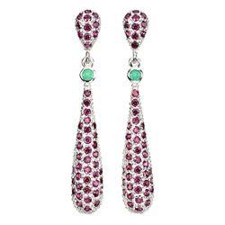 Natural Green Emerald & Rhodolite Garnet Earrings