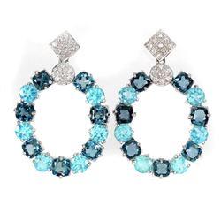 Natural London Blue & Topaz Brazil Apatite Earrings