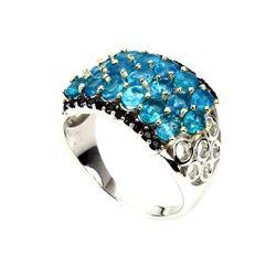 Natural Rare Brazil Neon Blue Apatite Black Spinel Ring
