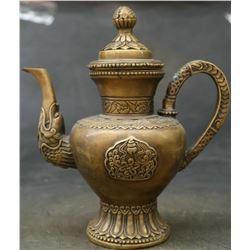 Antique Chinese/Tibetian Bronze Wine/Tea Kettle