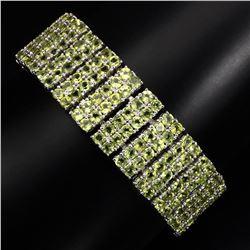 Natural Top Rich Green Peridot 287 Carats Bracelet
