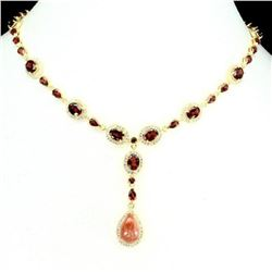 Natural Sunstone Pear 14x10 mm & Garnet Necklace