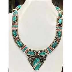 Tibet Hand Made Turquoise & Coral Necklace
