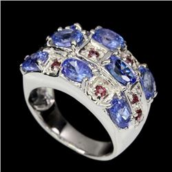 Unheated Blue Tanzanite & Rhodolite Garnet Ring