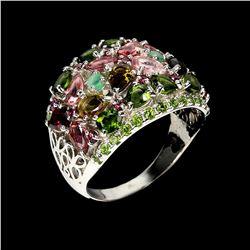 Natural Emerald & Unheated Pear Tourmaline Ring