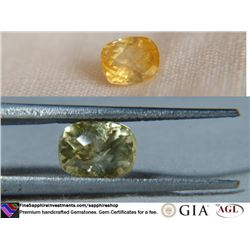 Strong Gold/Yellow Sapphire, premium cut 3.16 ct
