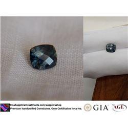 greenish-Blue Sapphire, checkerboard | GIA 2.10 ct