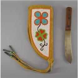 PLAINS INDIAN KNIFE SHEATH AND KNIFE