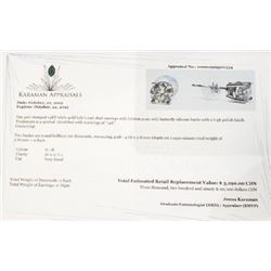 14K White Gold Diamond(0.84Ct,Si2-I1,G-H) Earrings (~weight 0.78g), Made in Canada, Appraised Retail