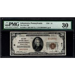 1929 $20 Johnstown National Bank Note PMG 30