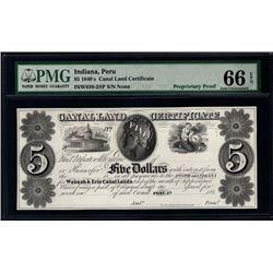 1840's $5 Peru IN Canalland Certificate PMG 66EPQ