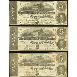 1863 $5 Confederate States of America Notes