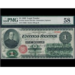 1862 $1 Legal Tender Note PMG 58