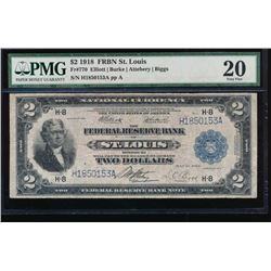 1918 $2 St Louis Federal Reserve Bank Note PMG 20
