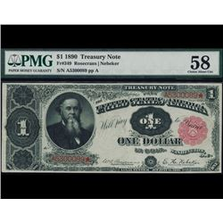 1890 $1 Treasury Note PMG 58