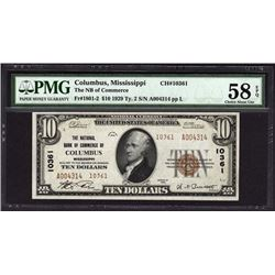 1929 $10 Columbus National Bank Note PMG 58EPQ