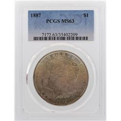1887 $1 Morgan Silver Dollar Coin PCGS MS63 Amazing Toning