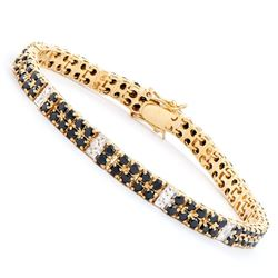 Plated 18KT Yellow Gold 9.15ctw Black Sapphire and Diamond Bracelet