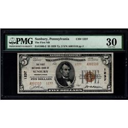 1929 $5 Sunbury National Bank Note PMG 30