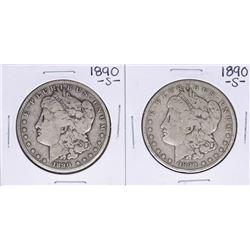 Lot of (2) 1890-S $1 Morgan Silver Dollar Coins