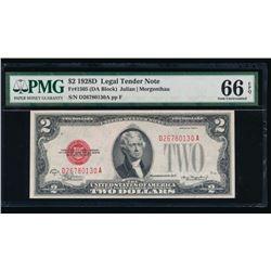 1928D $2 Legal Tender Note PMG 66EPQ