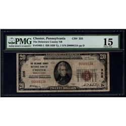 1929 $20 Chester National Bank Note PMG 15