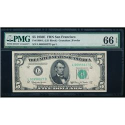 1950E $5 San Francisco Federal Reserve Note PMG 66EPQ