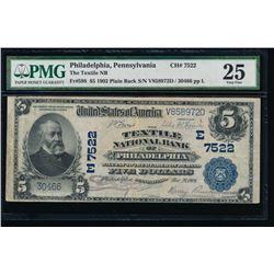 1902 $5 Philadelphia National Bank Note PMG 25