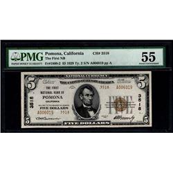 1929 $5 Pomona National Bank Note PMG 55
