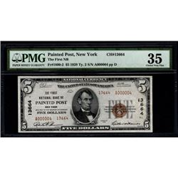 1929 $5 Low Serial Painted Post National Bank Note PMG 35
