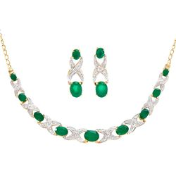 Plated 18KT Yellow Gold 6.10ctw Green Agate and Diamond Pendant with Chain and Earrings