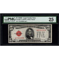 1928D $5 Legal Tender STAR Note PMG 25