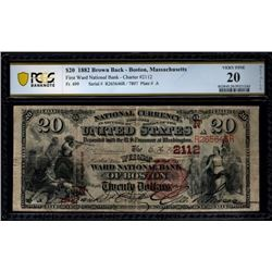 1882 $20 First Ward National Bank Note PCGS 20
