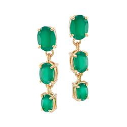 Plated 18KT Yellow Gold 4.00ctw Green Agate Earrings