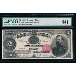 1891 $2 Treasury Note PMG 40