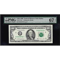 1990 $100 Federal Reserve STAR Note Dallas Fr.2173-K* PMG Superb Gem Unc 67EPQ