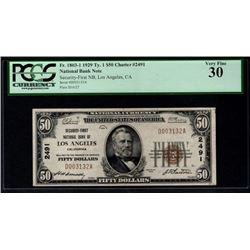1929 $50 Los Angeles National Bank Note PCGS 30