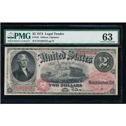 1874 $2 Legal Tender Note PMG 63