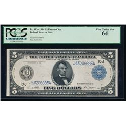 1914 $5 Kansas City Federal Reserve Note PCGS 64