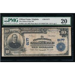 1902 $10 Clifton National Bank Note PMG 20