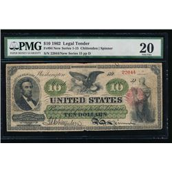 1862 $10 Legal Tender Note PMG 20
