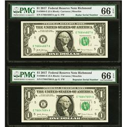 2017 $1 Repeater and Radar Serial Notes PMG 66EPQ