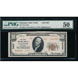 1929 $10 Falconer National Bank Note PMG 50